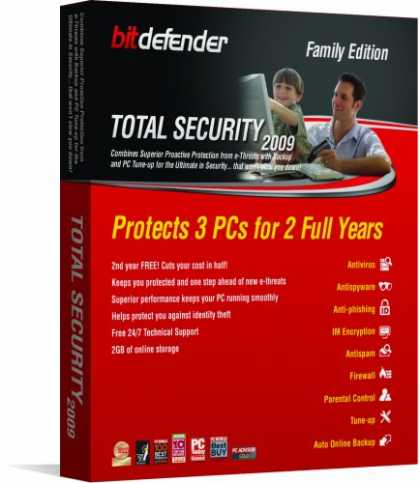 Bestselling Software (2008) - Bitdefender Total Security 2009 2Yr/3Pc