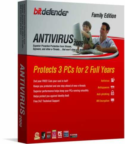 Bestselling Software (2008) - Bitdefender Antivirus 2009  - 2 Yr/3Pc