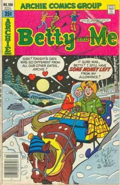 Betty and Me 100 - Archie Comics Group - Man - Woman - Horse - Snow
