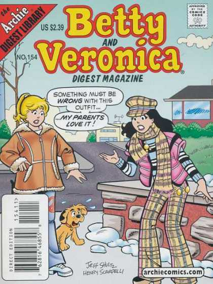 Betty and Veronica Digest 154 - Winter - Dog - Scarf - Girls - Street