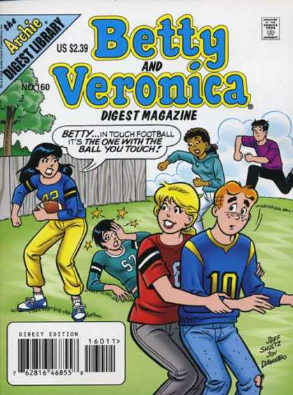 Betty and Veronica Digest 160 - Football - Archie - Playing - Stars - Team