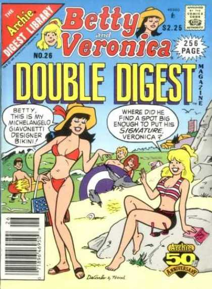 Betty and Veronica Double Digest 26 - Beach - Bikini - Wave - Boys - Sun Glasses
