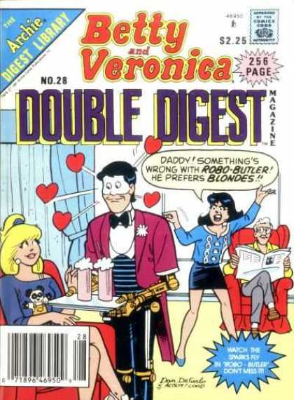 Betty and Veronica Double Digest 28 - Archie Digest Library - Approved By The Comics Code - Hearts - Man - Woman