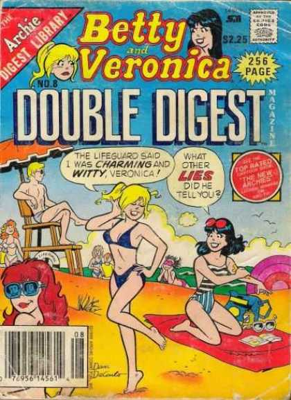 Betty and Veronica Double Digest 8 - Pretty Girls - Bathing Suits - The Beach - Swimmers - Sunbathing
