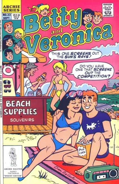 Betty and Veronica 33 - Archie - Beach - Sunscreen - Blanket - Popcorn