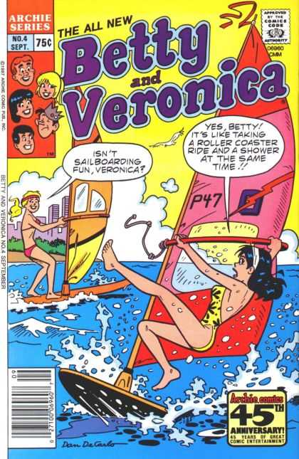 Betty and Veronica 4 - Sailboard - Water - Cloud - City - Bikini