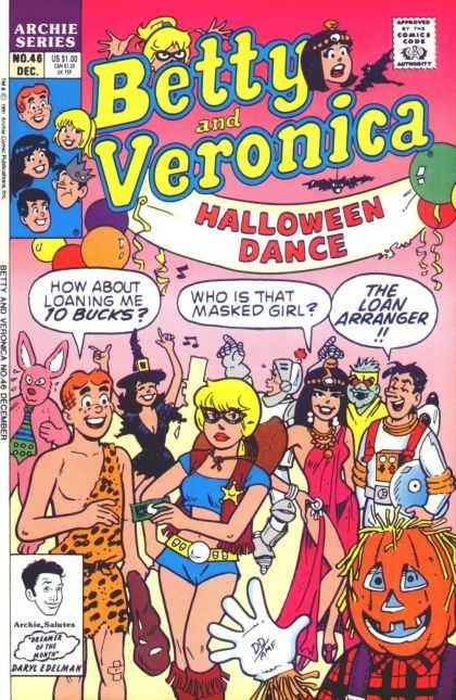 Betty and Veronica 46 - Archie Series - Halloween Dance - Jack-o-lantern - Cleopatra Outfit - Astronaut Suit