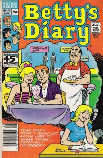 Betty's Diary 10 - Archie Series - Archie - Betty - Ice Cream Float - Check
