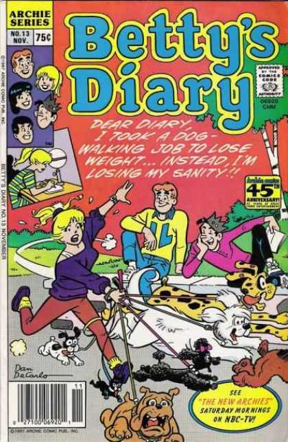 Betty's Diary 13 - Dear Diary - 45th Anniversary - Yellow Sweater - Homework - Dog Walking