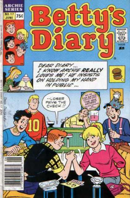 Betty's Diary 17 - Archie Series - 75 Cents - No 17 June - Hand Wresting - Loser Pays Check