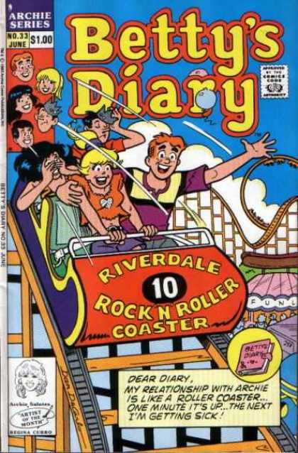Betty's Diary 33 - Betty - Roller Coaster - Archie - June Issue - Theme Park