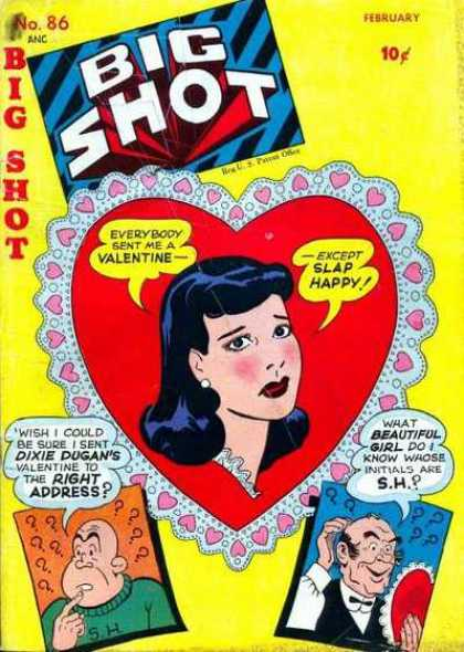 Big Shot 86 - Dixie Dugan - Valentine Card - Beautiful Girl - Heart-shaped Apicture Frame - Bald Old Man