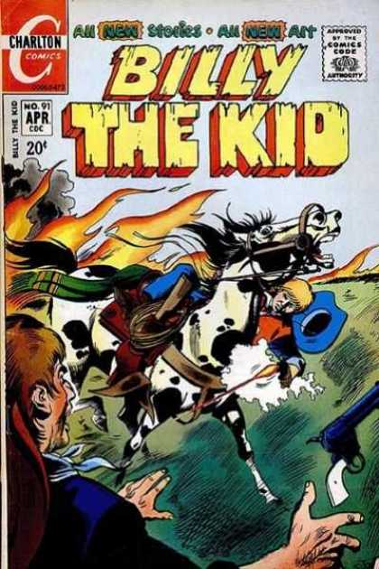 Billy the Kid 91 - Charlton Comics - White Horse - Fire - Blue Hat - Gun