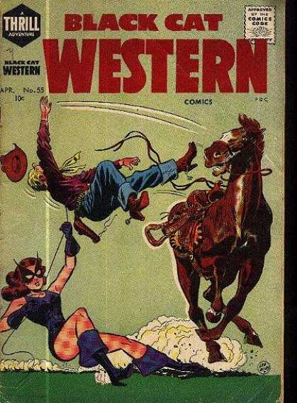 Black Cat 55 - Horse - Cowboy - Rope - Cat Woman - Falling Off A Horse