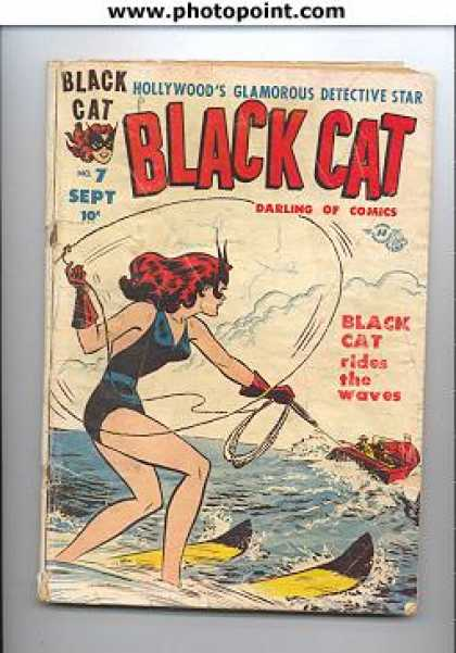 Black Cat 7 - Sept - Darling Comics - Water Skit - Rides The Waves - Detective Star