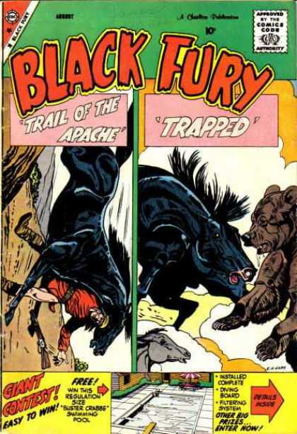 Black Fury 20 - Trail Of The Apache - Trapped - Approved By The Comic Code - Giant Contest - Easy To Win