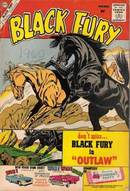 Black Fury 27 - Horse - Approved By The Comics Code Authority - 1960 - Outlaw - Car