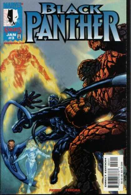 Black Panther (1998) 3 - Human Torch - The Thing - Fantastic Four - Invisible Woman - Mr Fantastic - Mark Texeira