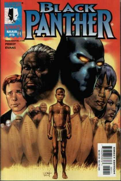 Black Panther (1998) 5 - African Boy - Shields - African Army - Black Man With White Hair - White Man In Suit