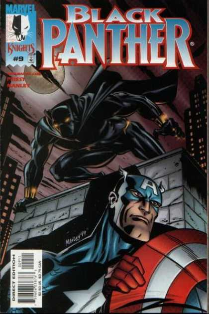 Black Panther (1998) 9 - Captain America - Skyscrapers - Moon - Stalking - Night - Mike Manley