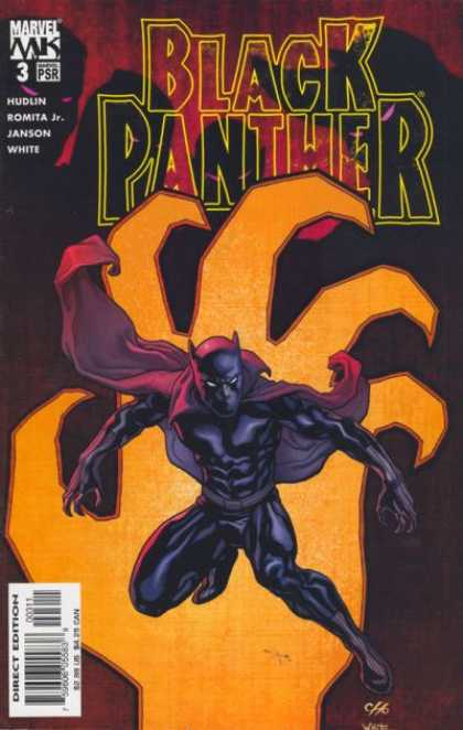 Black Panther (2005) 3 - Orange Claw - Looming Observers - Black Suit - Red Cape - Cat Mask - Frank Cho