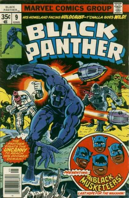 Black Panther 9 - Marvel Comics Group - Approved By The Comics Code Authority - The Black Musketeers - Holocaust - Wild - Jack Kirby