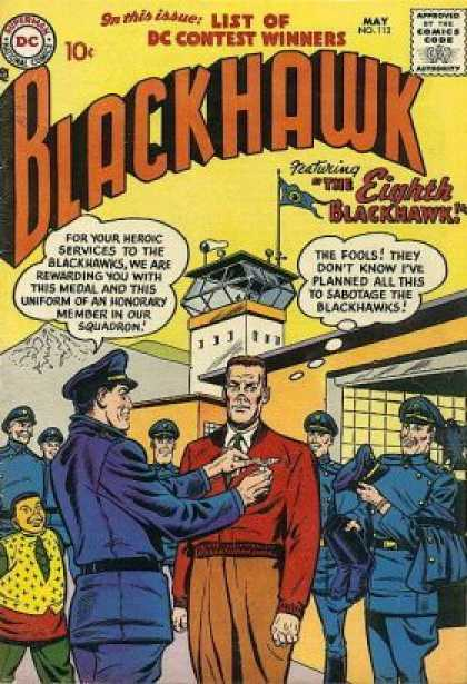 Blackhawk 112 - List Of Dc Contest Winners - The Eighth Blackhawk - Watch Tower - Sabotage - Guards - Jack Adler