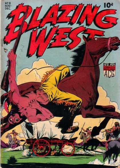 Blazing West 8 - Brown Horse - Indian - Rifle - Covered Wagon - Dust Clouds