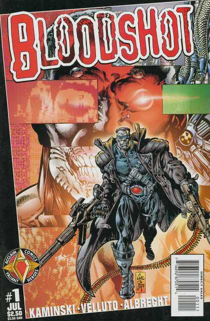 Bloodshot (1997) 1 - July Issue - Machine Guns - Laser Coming Out Of Eye - Skull - Muscle