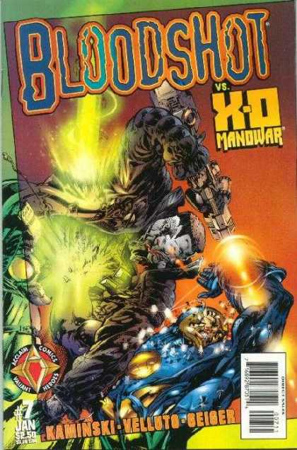 Bloodshot (1997) 7 - X-o Manowar - Blasting - Guns - Laser Beams - Hand