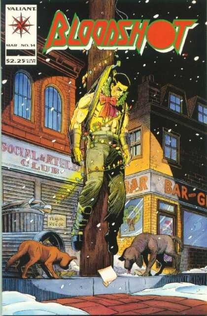 Bloodshot 14 - Dog - Cat - Holiday Lights And Wreath - City Buildings - Dogs