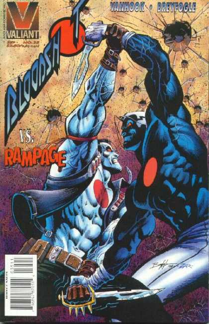 Bloodshot 35 - Valiant - Vanhook - Breyfogle - Knife - Fight - Norm Breyfogle