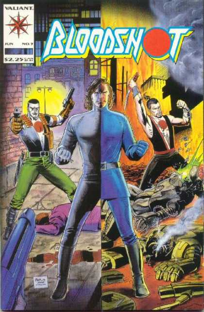 Bloodshot 5 - Guns - Fighting - Dagger - Smoke - Alleyway - Kevin Nowlan