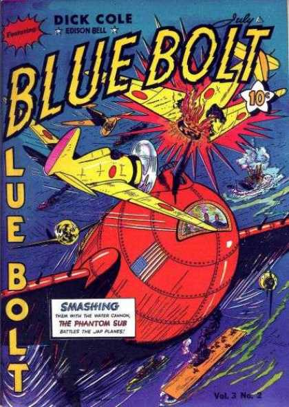 Blue Bolt 26 - Dick Cole - Edison Bell - Airplane - Water Cannon - The Phantom Sub