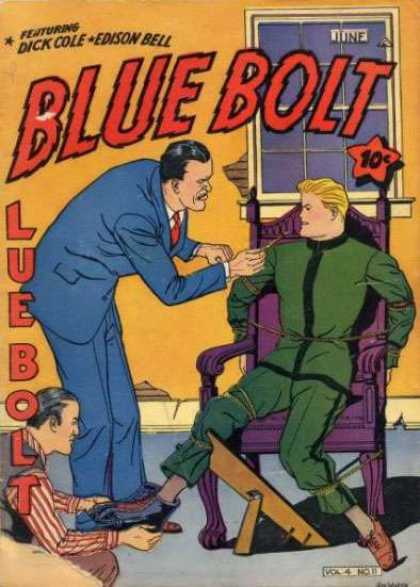 Blue Bolt 47 - Window - Dick Cole - Edison Bell - Man Tied To Chair - Man In Suit