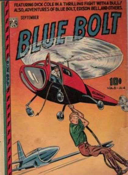 Blue Bolt 82 - Dick Cole In A Thrilling Fight With A Bull - Helicopter - Rope - Plane - Edison Bell