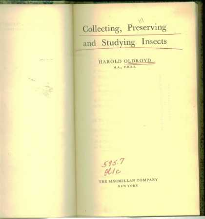 Books About Collecting - Collecting, Preserving and Studying Insects
