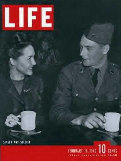 Books About Movies - original LIFE MAGAZINE of February 16 1942 with USO Singer and Soldier the cover