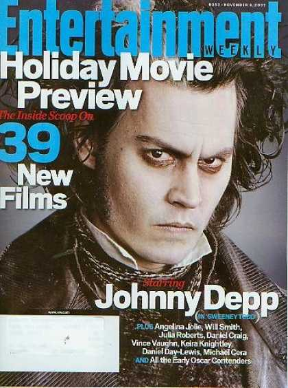 Books About Movies - Entertainment Weekly November 9 2007 - Johnny Depp, 39 New Films, Holiday Movie