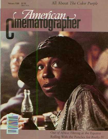 Books About Movies - American Cinematographer Magazine February 1986 (The Color Purple, Out of Africa
