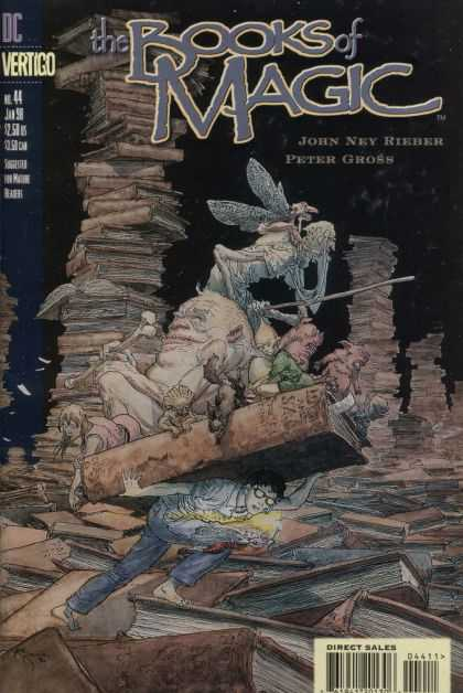 Books of Magic 44 - Wings - Odd Creatures - Boy Carrying Huge Book - Book Stacks - Vertigo - Michael Kaluta