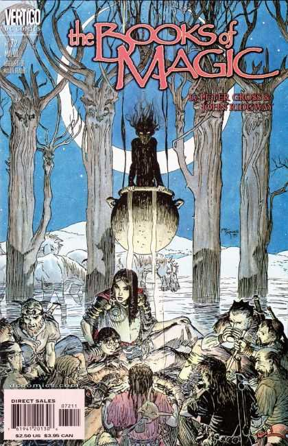Books of Magic 72 - Moon - Trees - Night - Cauldron - Fog - Michael Kaluta