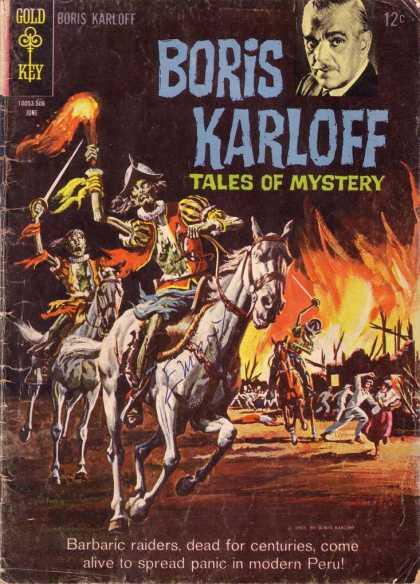 Boris Karloff Tales of Mystery 10 - Gold Key - Man - Horse - Torch - Fire