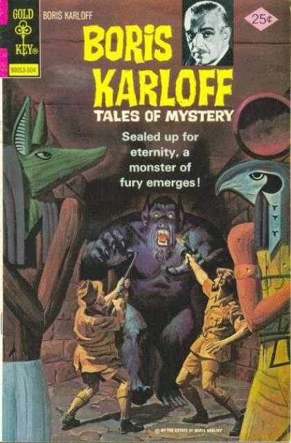 Boris Karloff Tales of Mystery 60 - Monster Of Fury Emerges - Gold Key - Statues - Men Shooting At Monster - Hallway
