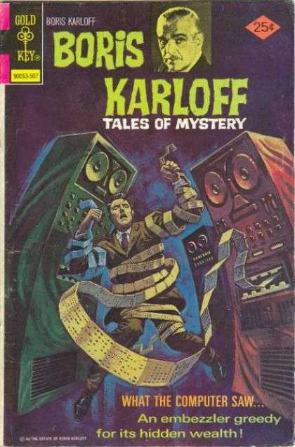 Boris Karloff Tales of Mystery 62 - Gold Key - Compuer - Scared Man - An Embezzler Greedy For Its Hidden Wealth - Business Suit
