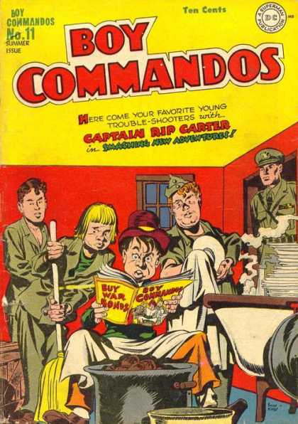 Boy Commandos 11 - Captain Rip Carter - Summer Issue - Ten Cents - Buy War Bonds - Smashing New Adventures
