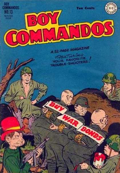 Boy Commandos 13 - Helmets - Outdoors - Buy War Bonds - Villians - Heroes - Jack Kirby