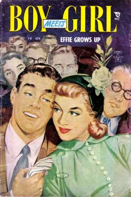 Boy Meets Girl 16 - Effie Grows Up - Green Flower Hat - White Glove - Man In Thick Black Glasses - October No 16
