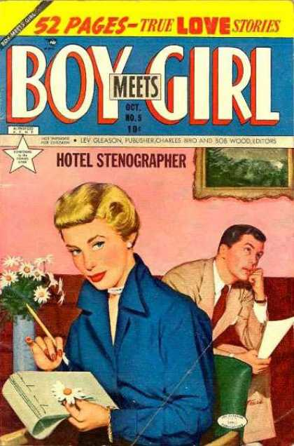 Boy Meets Girl 5 - Hotel Stenographer - Blond Woman - Man In Suit - Daisies In Blue Vase - Pad And Pencil