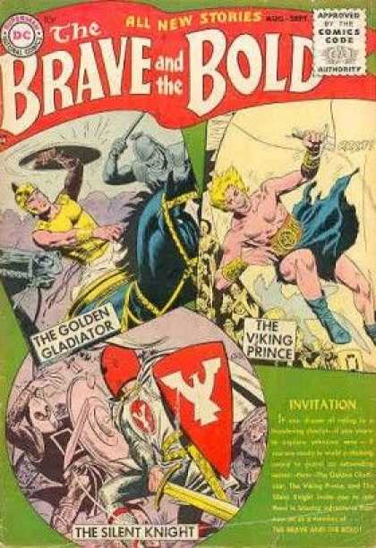 Brave and the Bold 1 - Comics Code - The Golden Gladiator - The Viking Prince - Invitation - Shield - George Perez, Joe Kubert